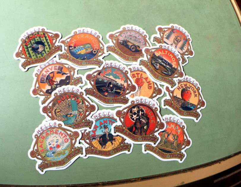 Stickers representing many of the U.S. Treasure Truck designs by Martz