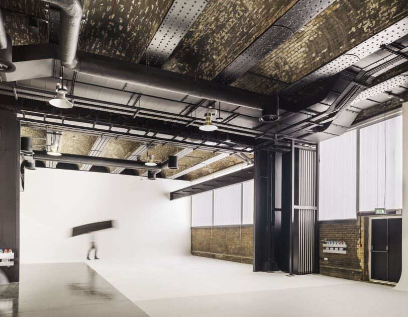 Tall ceilings and white backgrounds characterise the editorial room inside Amazon's Fashion Studio in Hoxton.