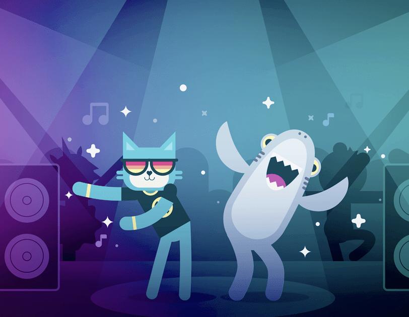 Des personnages de dessins animés, un chat et un requin, dansent au rythme de la musique.