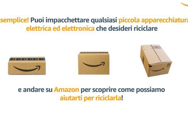 Grafica che riassume la possibilità di riciclare apparecchi elettrici ed elettronici tramite Amazon. Al centro dell'immagine ci sono 3 scatole Amazon