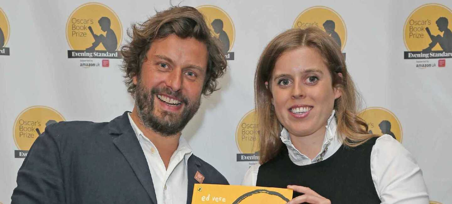 Winning author Ed Vere with Princess Beatrice