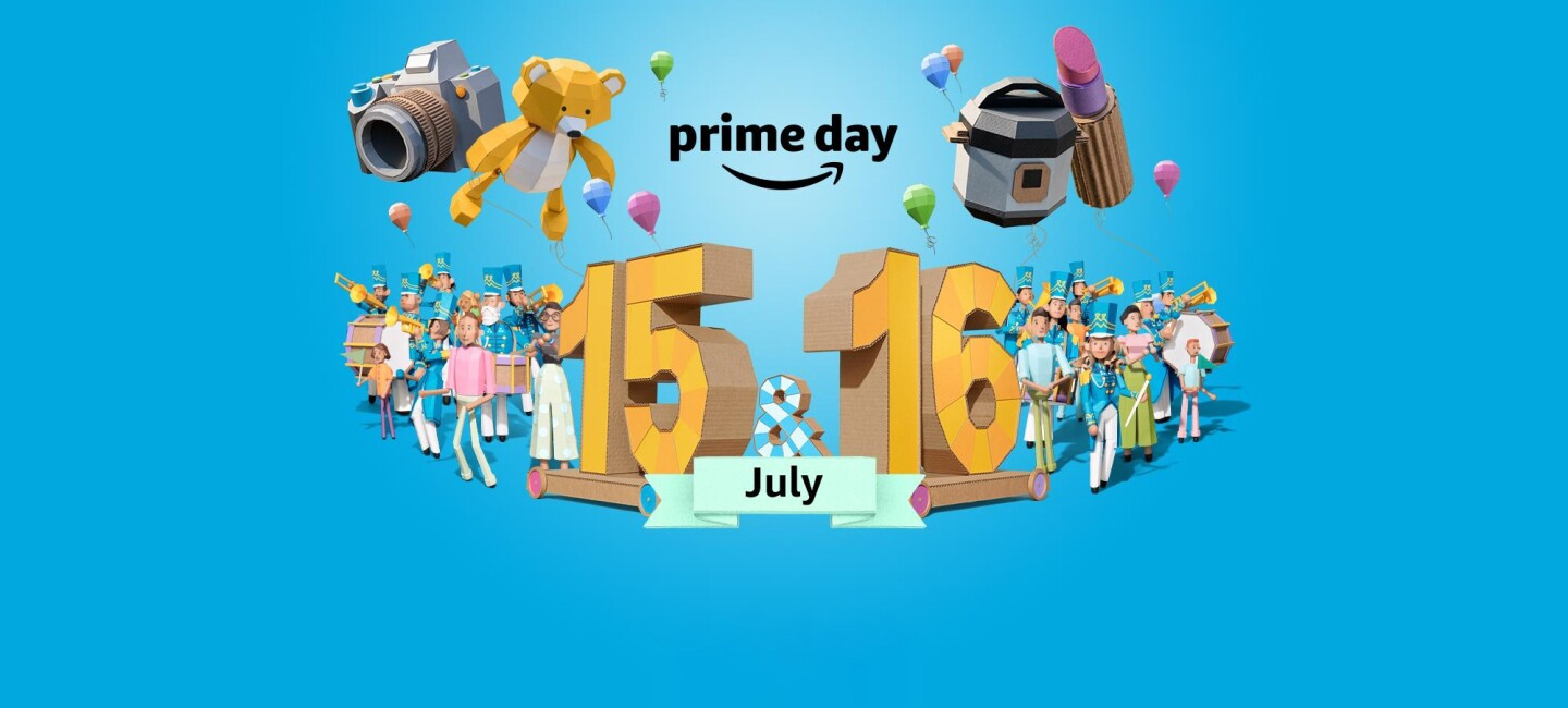 Illustration of cardboard cutouts on a blue background celebrating Amazon's worldwide two-day parade of deals, Prime Day, on July 15 & 16, 2019.