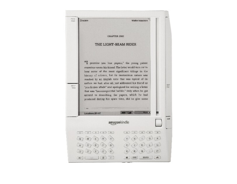 An image of the original Amazon Kindle in white.