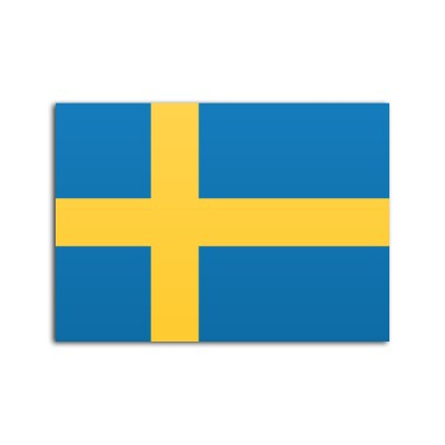 Flat flag of Sweden on white background