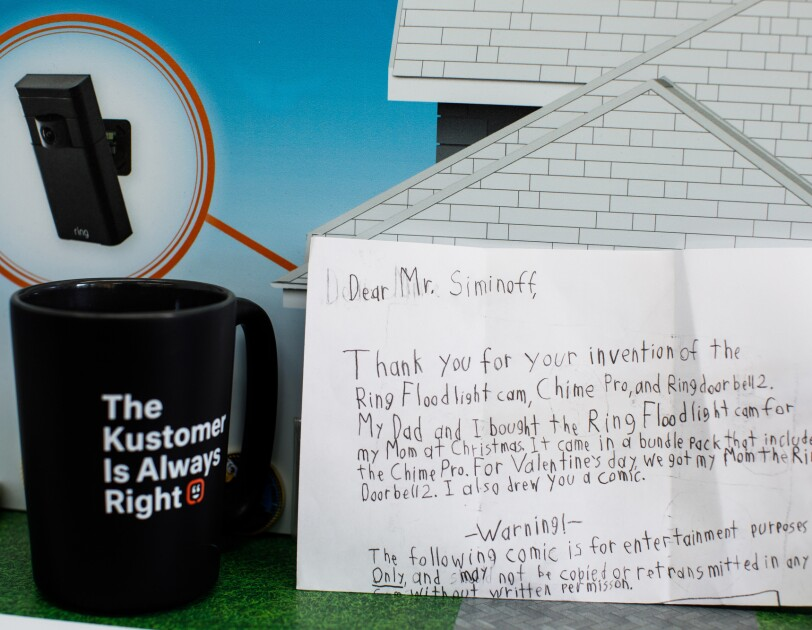A child's letter to Ring founder Jamie Siminoff, which thanks him for inventing the Ring floodlight cam.