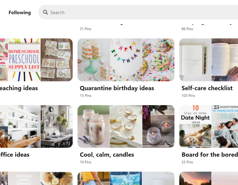 "Pinterest's ""Stay Safe. Stay Inspired"" board to help pinners find things to do while social distancing."