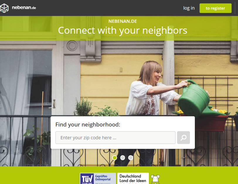 Screenshot of Nebenan.de's homepage where you can search your neighborhood to find opportunities to connect with and help your neighbors during the COVID- pandemic.