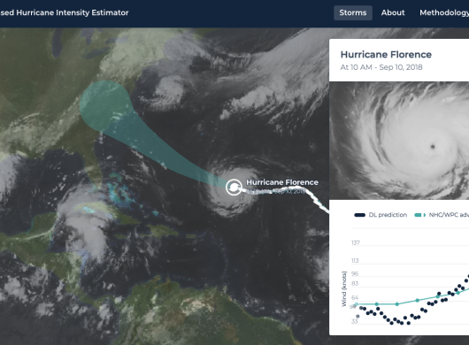 A satellite image showing the trajectory of Hurricane Florence