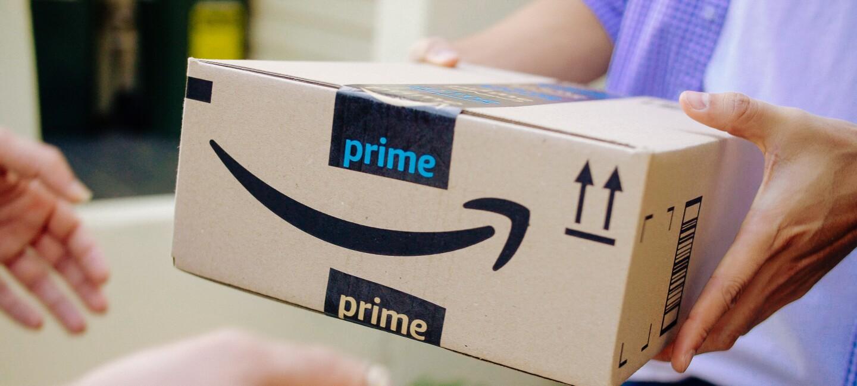 An Amazon Prime box, with the Amazon Smile logo.