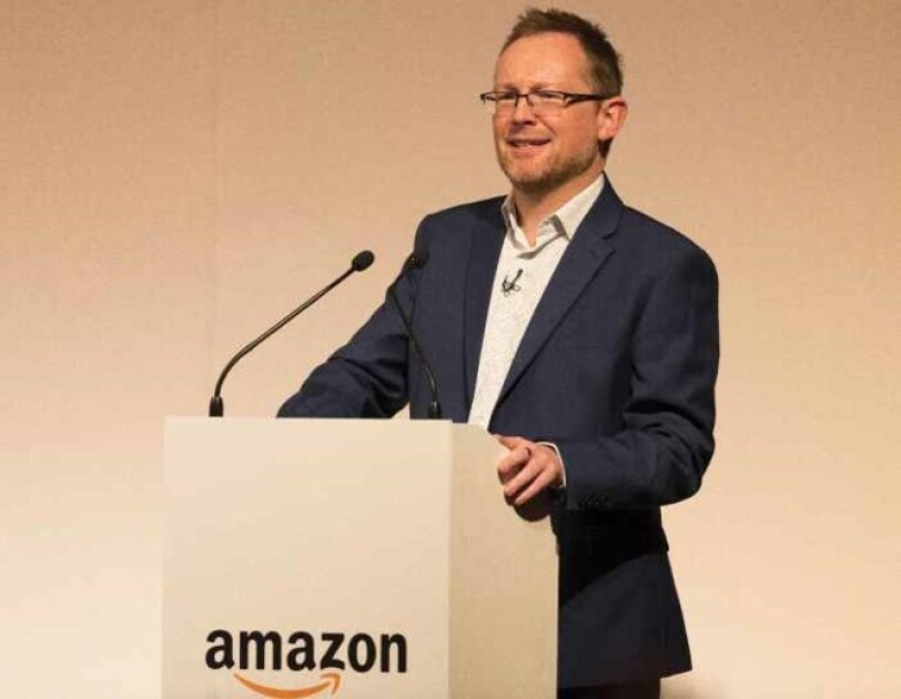 Russell George, Welsh Assembly Member and Chair of Economy, Infrastructure and Skills Committee speaking at Amazon Academy in Wales, Scotland.