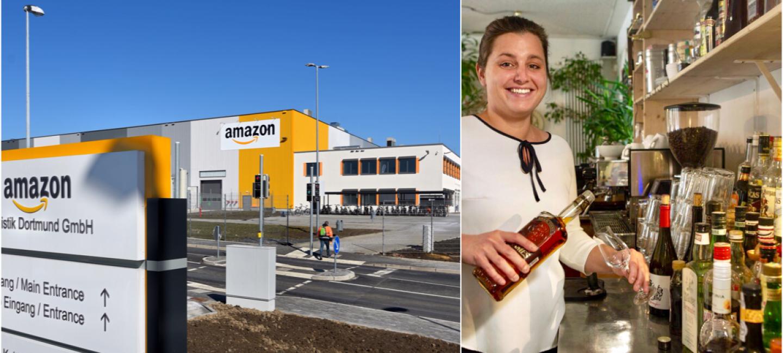 """Links: Das Logistikgebäude  in Dortmund mit grau-orangefarbener Fassade; rechts: Jasna im """"Grünen Salon"""" an der Bar"""