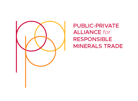 On the left hand side, the lowercase letters P, P, A are overlapping to create a venn diagram in the colors magenta, orange, and yellow. The words Public-Private Alliance for Responsible Minerals Trade on the right hand side in magenta color.