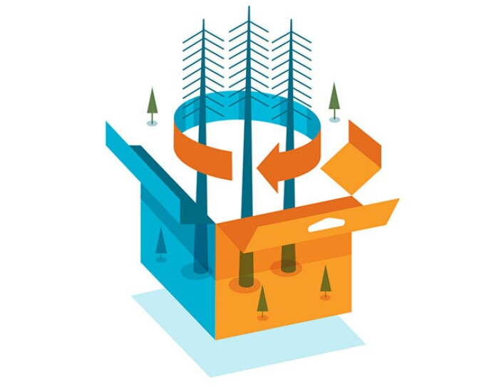 Illustration of packaging with trees coming out of center