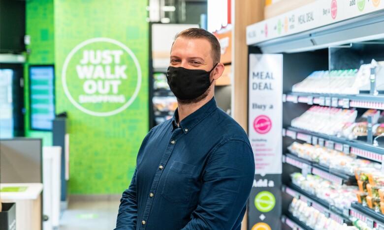 Paul Duke in the Amazon Fresh store in Dalston