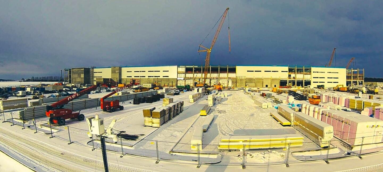 Baugelände im Schnee des neuen Logistikzentrum in Gera