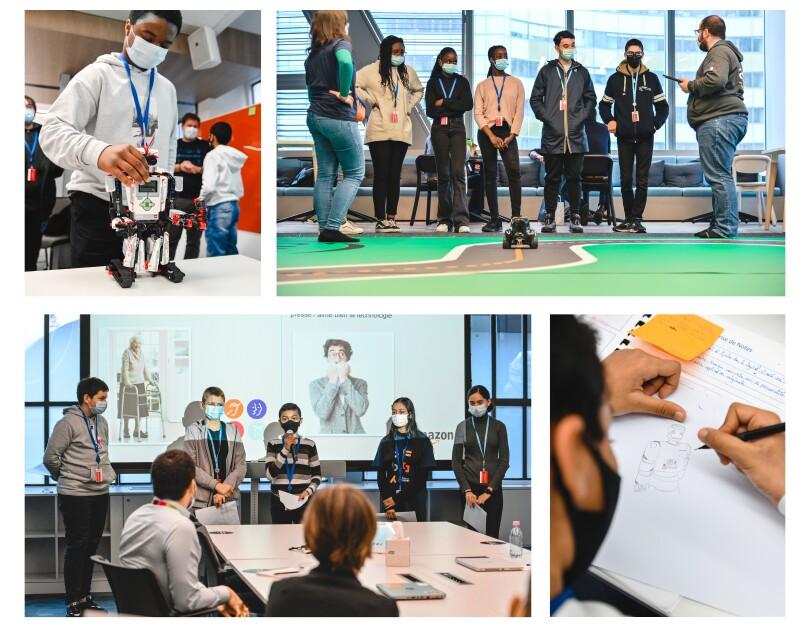 Le programme du stage de 3ème : lundi découverte d'Amazon, mardi initiation à l'intelligence artificielle, mercredi découverte de la logistique et des robots, jeudi introduction au Machine Learning et vendredi réflexion en groupe autour d'un projet d'innovation et présentation de son idée.