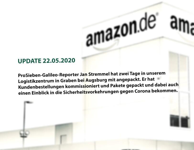 """(UPDATE 22.05.2020) ProSieben-""""Galileo""""-Reporter Jan Stremmel hat zwei Tage in unserem Logistikzentrum in Graben bei Augsburg mit angepackt. Er hat Kundenbestellungen kommissioniert und Pakete gepackt und dabei auch einen Einblick in die Sicherheitsvorkehrungen während Corona bekommen."""