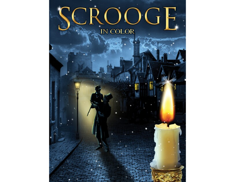 "Cover art for ""Scrooge"" in color - a man stands on a brick road lifts a boy up in the air, in front of an old street light. behind him, is a city. In the foreground, a candle that's burned most of the way down."