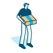 An illustration of an Amazon employee delivering a package.