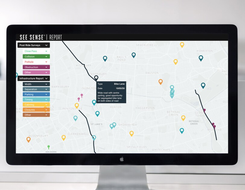 Dashboard of data for See Sense showing locations on a map in different colours
