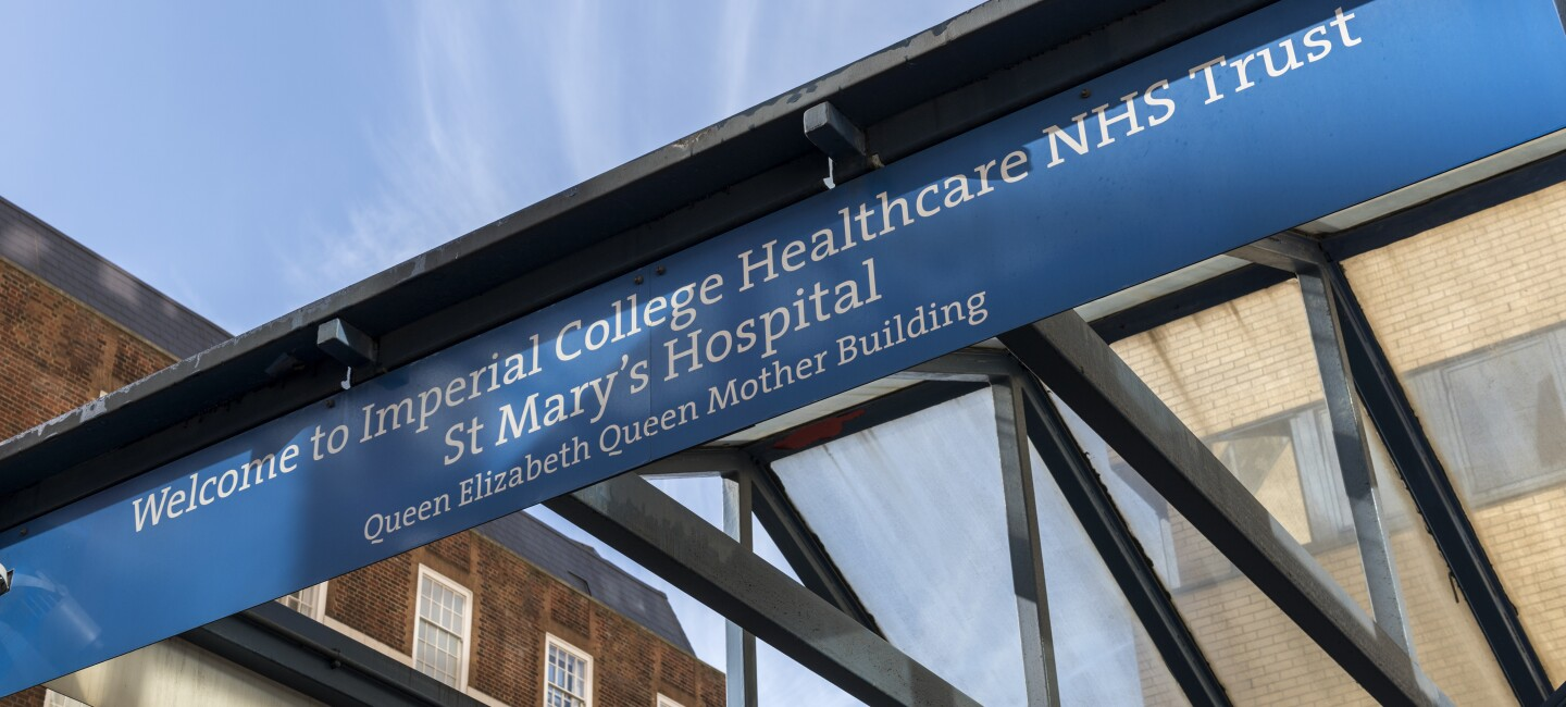 A blue banner showing the text 'Welcome to Imperial College Healthcare NHS Trust St Mary's Hospital'