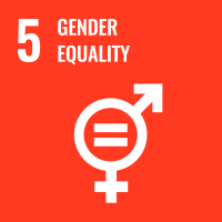 "UN SDG #5 reads ""Gender Equality"" and features a graphic of male and female symbols with an equal sign in the middle."