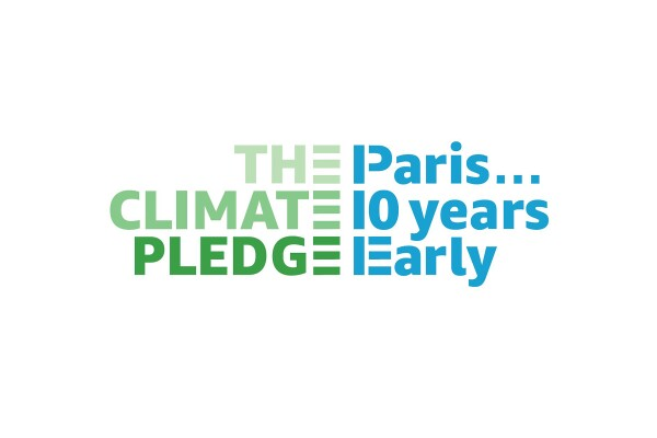 """Text on a white background that says """"The Climate Pledge, Paris... 10 years early"""" - a logo to support Amazon's Climate Pledge"""