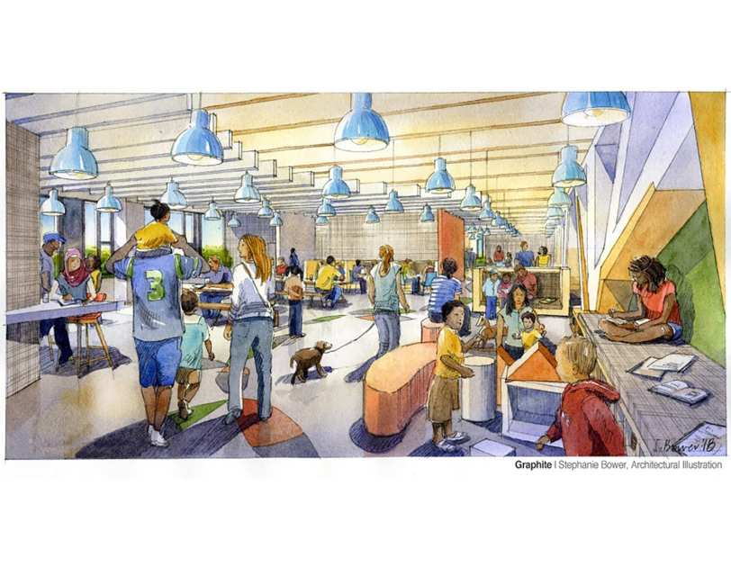 Mary's Place permanent shelter at Amazon rendering, interior view