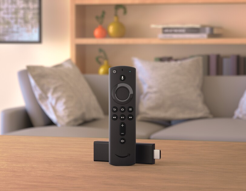 Fire TV stick in a living room