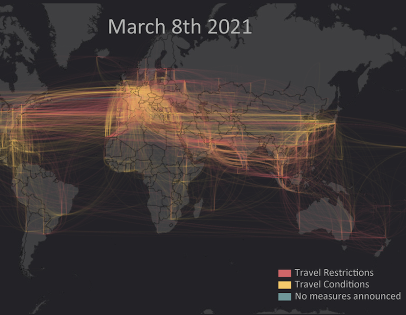 IOM data visualisation of COVID-19 impact on international flights 2021