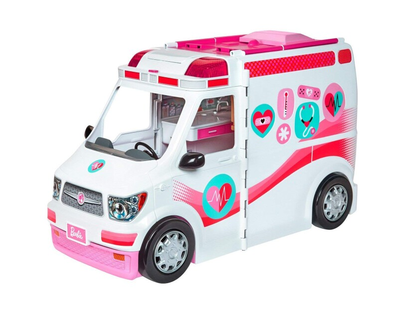 A Barbie care clinic vehicle with working siren. With the flip of a switch, the back of the vehicle transforms into a care clinic with a check-in stand, waiting room with a fish tank, gift shop, and exam room.