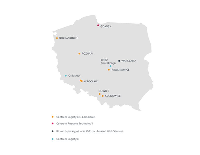 Mapa Polski, na której naniesiono obiekty Amazon w kraju.
