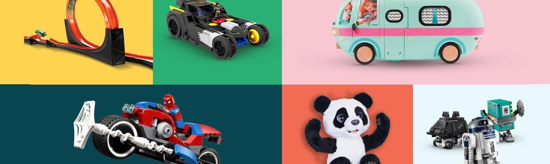 Kolaż sześciu grafik pokazujących: tor dla samochodzików, samochodzik, małą furgonetkę, motocykl z Spidermanem, misia pandę oraz droida z Gwiezdnych Wojen i dwie inne zabawki z klocków Lego.