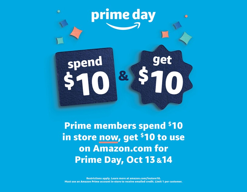A graphic illustrating the Prime Day Spend $10, Get $10 offer available Oct 13 and 14
