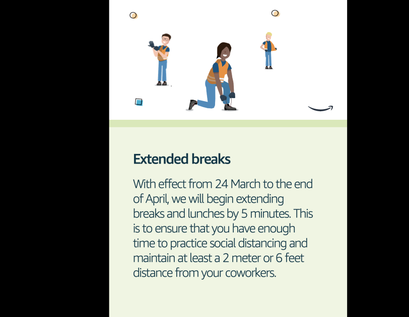 A poster for employees outlining the new policy for extended breaks.