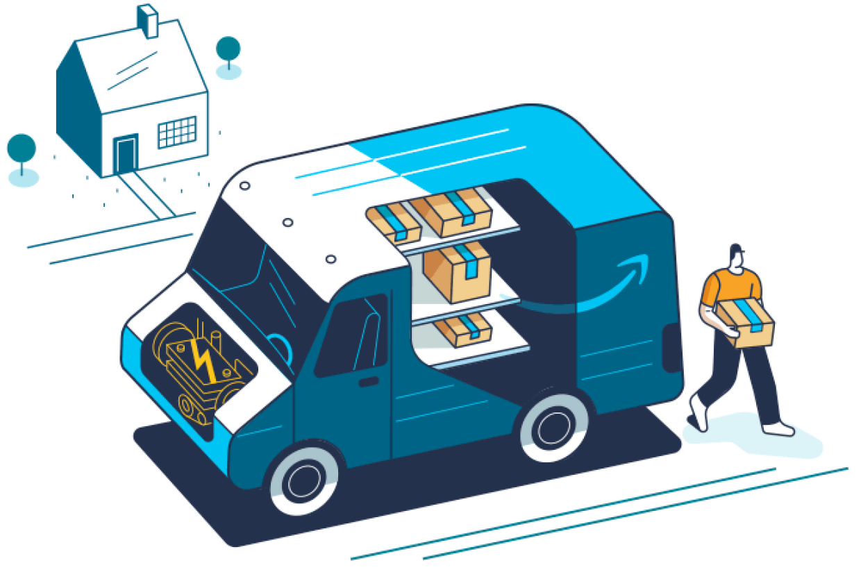 An illustration of an electric Amazon delivery truck filled with packages and parked in front of a customer's house.