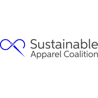 The Sustainable Apparel Coalition features the name of the organization with an graphic of a needle and thread forming an infinity loop