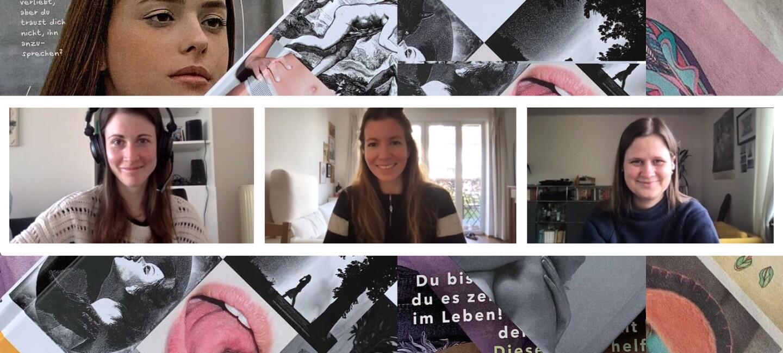 Drei Frauen mit dunklen Haaren sitzen an ihren Schreibtischen und lächeln in die Kamera.