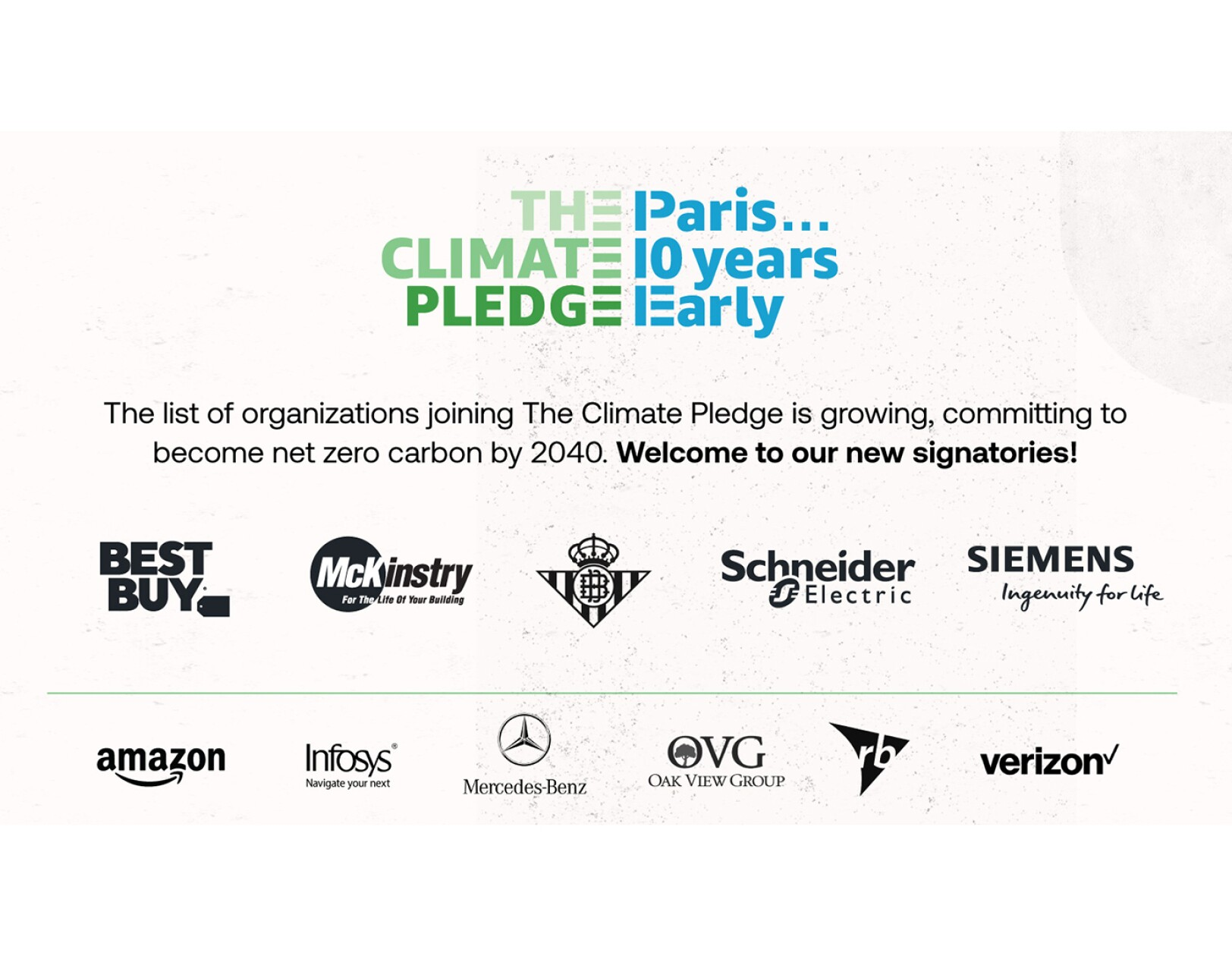Best Buy, McKinstry, Real Betis, Schneider Electric, and Siemens sign The Climate Pledge