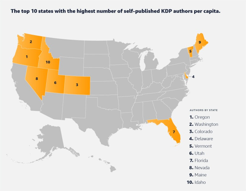Map of the United States showing top Kindle Direct Publishing locations