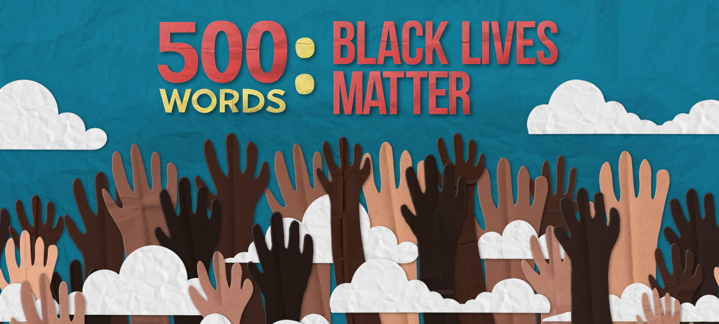 An image of different coloured hands being raised under the 500 Words logo.