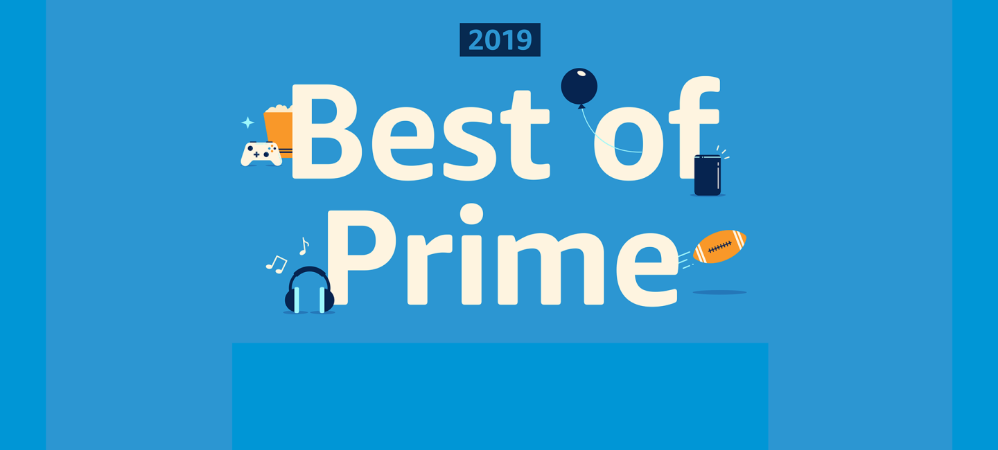 "A blue background with ""Best of Prime 2019"" on it. Near the text are icons of a gaming console controller, popcorn, a balloon, football, headphones, and other items."