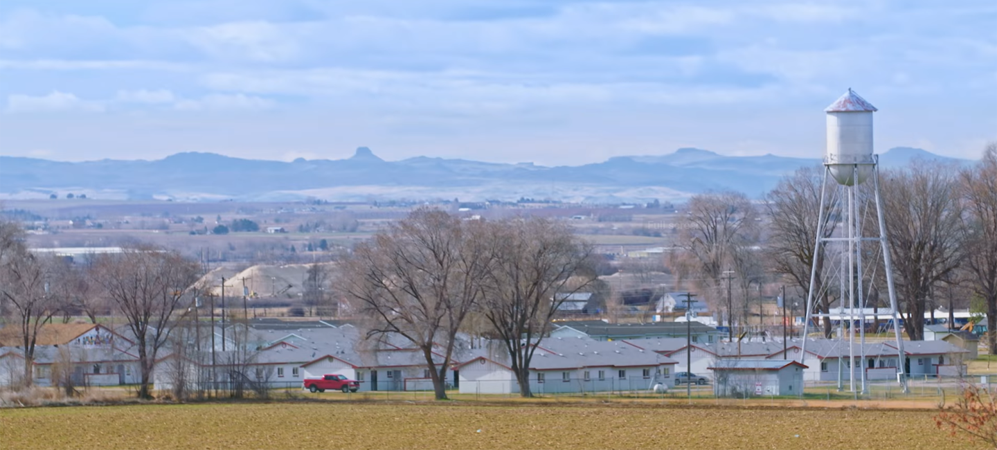 A picturesque view of a rural Idaho town. In the foreground, small trees dot the landscape, and a water tower juts into the sky, near several small ranch homes. In the background, foothills rise up behind the landscape.