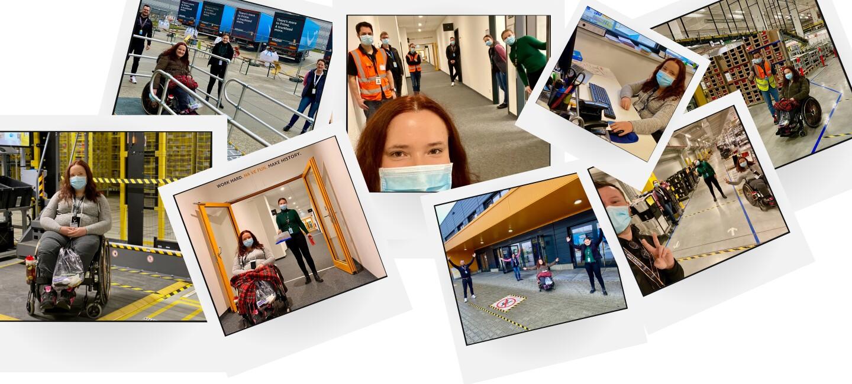 Collage von Lea, ihrer Schwester und den Kolleg:innen aus dem Logistikzentrum