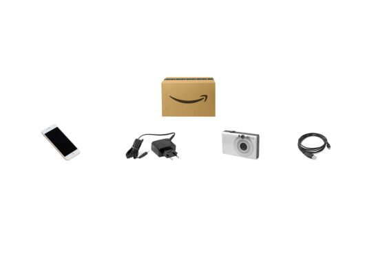 Image of an Amazon box, a cellphone, charger, digital camera, and cables.