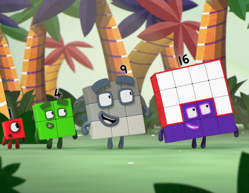 Numberblocks characters walking through a forest