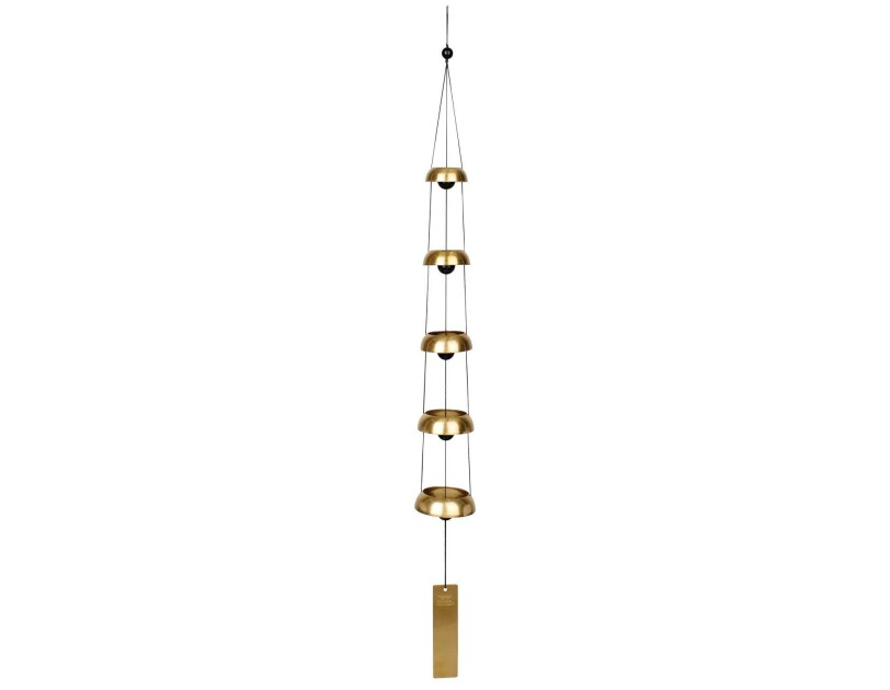 Temple bells wind chime with a brass weight at the bottom, and five circular levels, growing shorter as they get closer to the top.