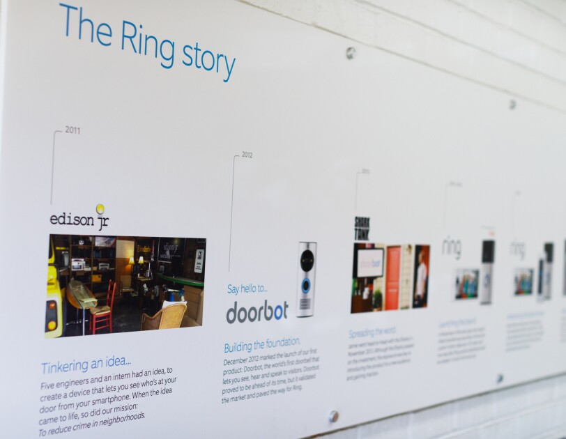 A timeline at Ring headquarters in Santa Monica, CA showing the evolution of the Ring story.
