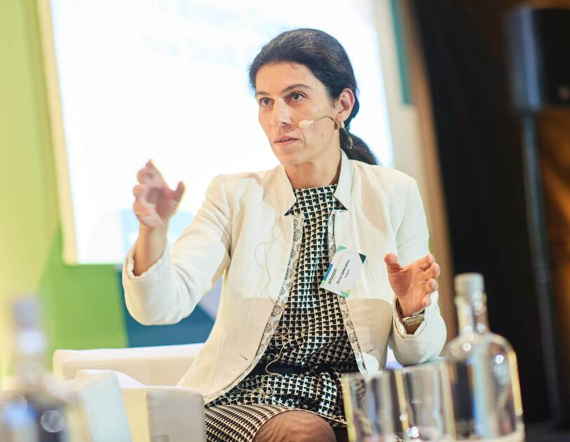 Eirini Zafeiratou, Director of EMEA Public Policy at Amazon speaking as one of the panelists.