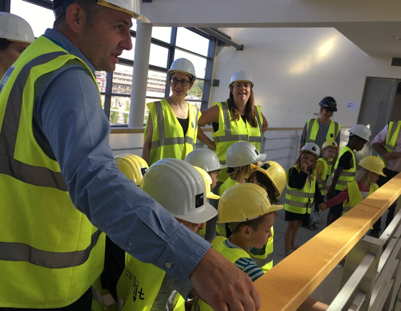 Local school kids at the tour of Amazon EU HQ.